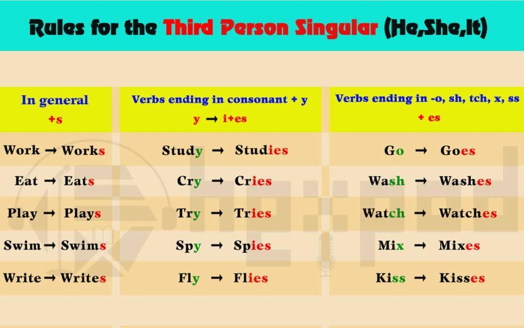 انواع فعل و ویژگی های آن - املای افعال برای سوم شخص مفرد - Rules for the Third Person Singular
