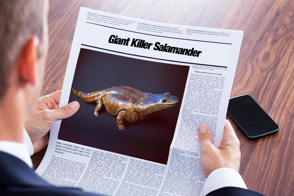 متن خبر انگلیسی - Giant Killer Salamander - English News